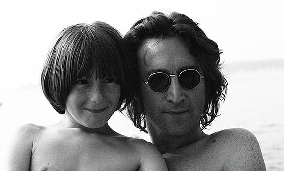 Family Portrait John and Julian Lennon by Iconic Images Art Gallery David Pucciarelli