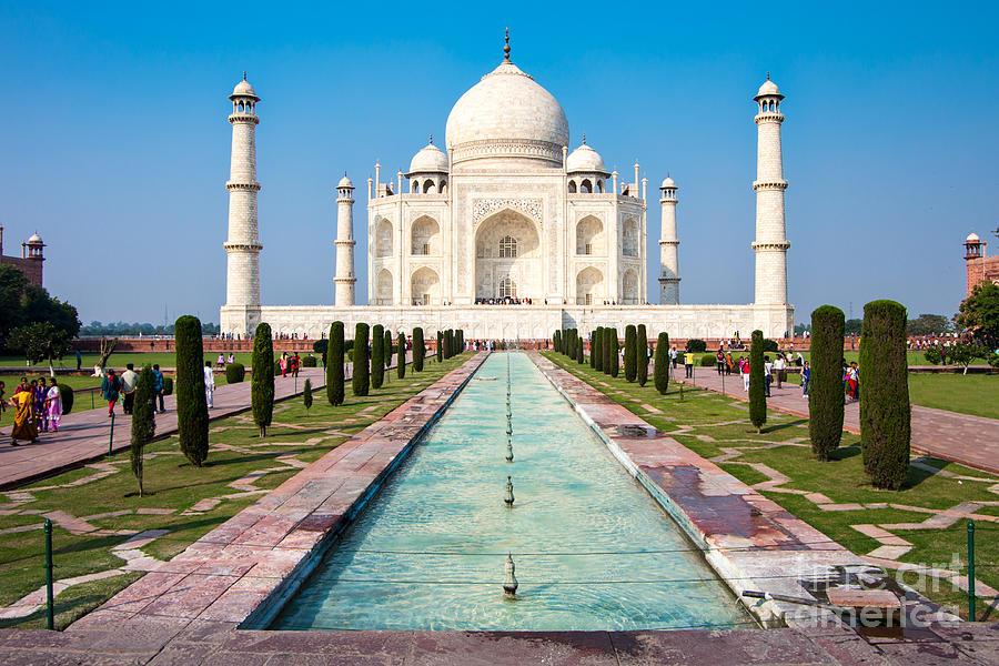 Uttar Pradesh Photograph - Famous Taj Mahal Mausoleum In In Bright by Mikhail Varentsov