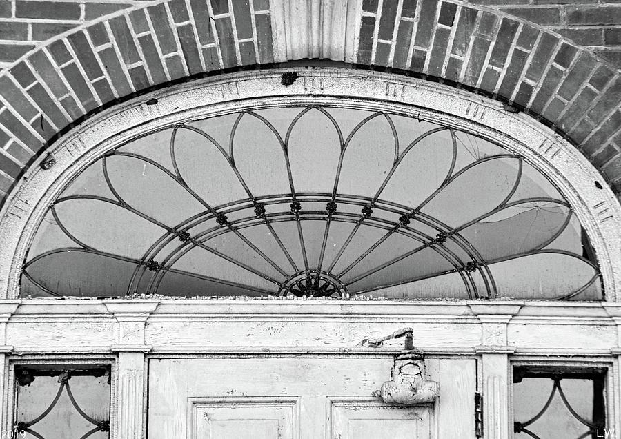 Fanlight Transom Window Black And White by Lisa Wooten