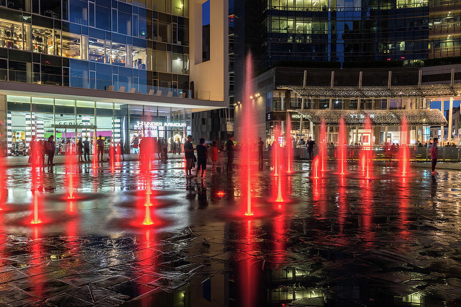Fantabulous Piazza Gae Aulenti - Splash-In Fountains in Fiery Ruby Red by Georgia Mizuleva