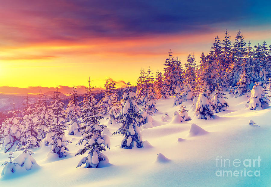 Ice Photograph - Fantastic Evening Landscape Glowing By by Creative Travel Projects
