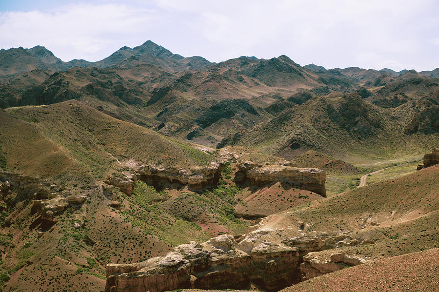 Fantastic steppe landscape of Charyn canyon in kazachstan and th by Kim Vermaat
