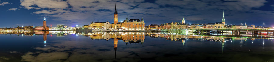 Stockholm Photograph - Fantastic Stockholm City Hall And Gamla Stan Reflection With Clouds by Dejan Kostic