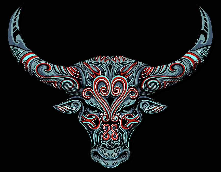 Fantasy Drawing Horns Cow Bull Dream Catcher Mandala Yoga by Tony Rubino