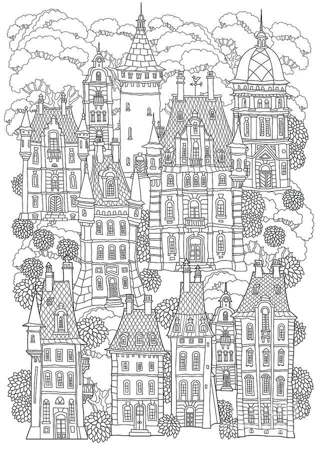 Greeting Digital Art - Fantasy Landscape Fairy Tale Castle by L. Kramer