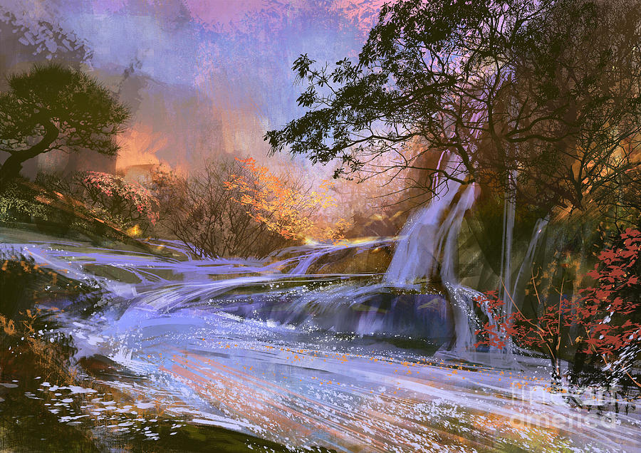 Forest Digital Art - Fantasy Landscape With Beautiful by Tithi Luadthong