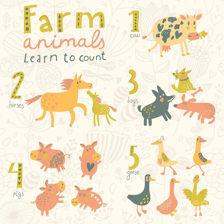 Country Digital Art - Farm Animals. Learn To Count Part One by Smilewithjul