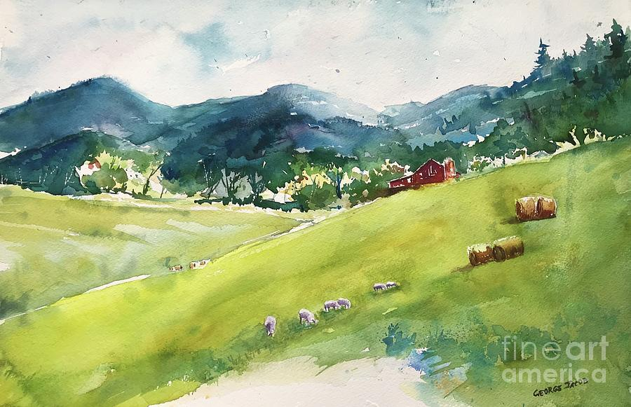 Farm by the blue ridge mountains by George Jacob