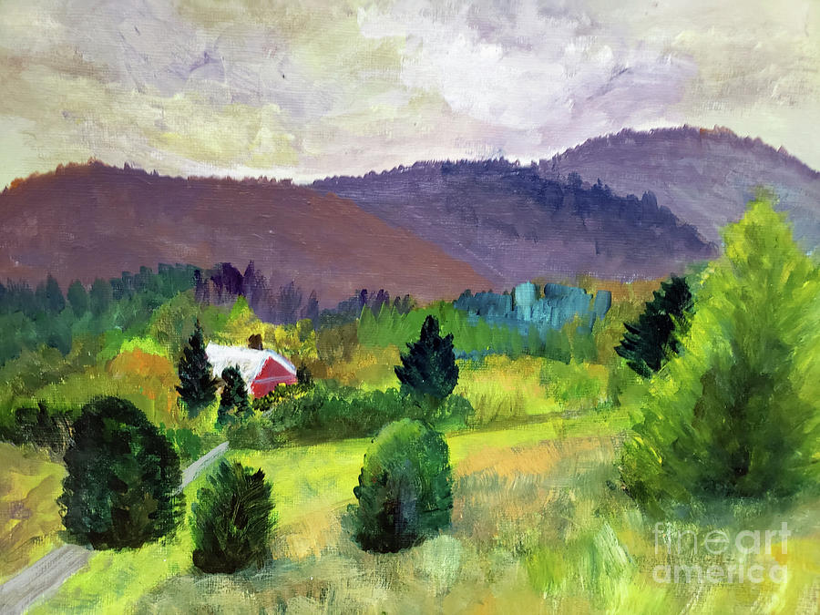 Farm Nestled by Mountains by Donna Walsh