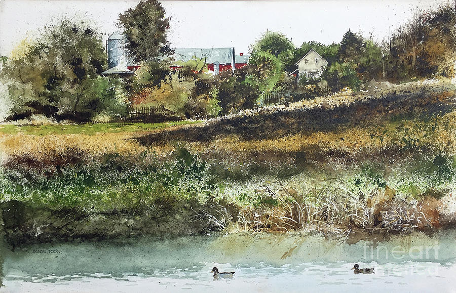 Farm Pond Painting by Monte Toon