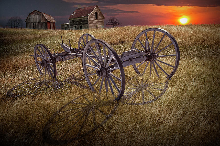 Farm Wagon Chassis in a Grassy Field on a Mid West Farm at Sunse by Randall Nyhof