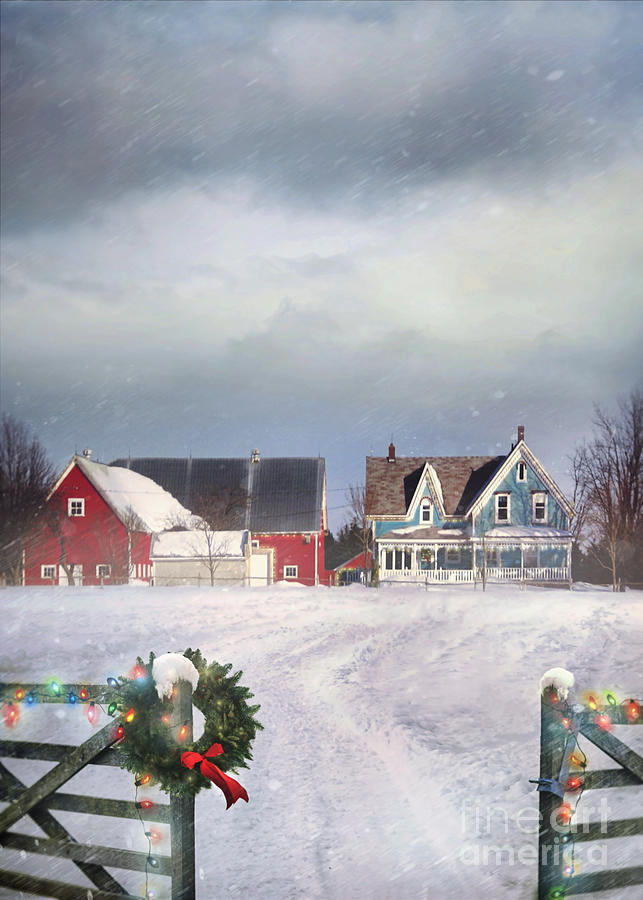 Farmhouse on cold winter day by Sandra Cunningham
