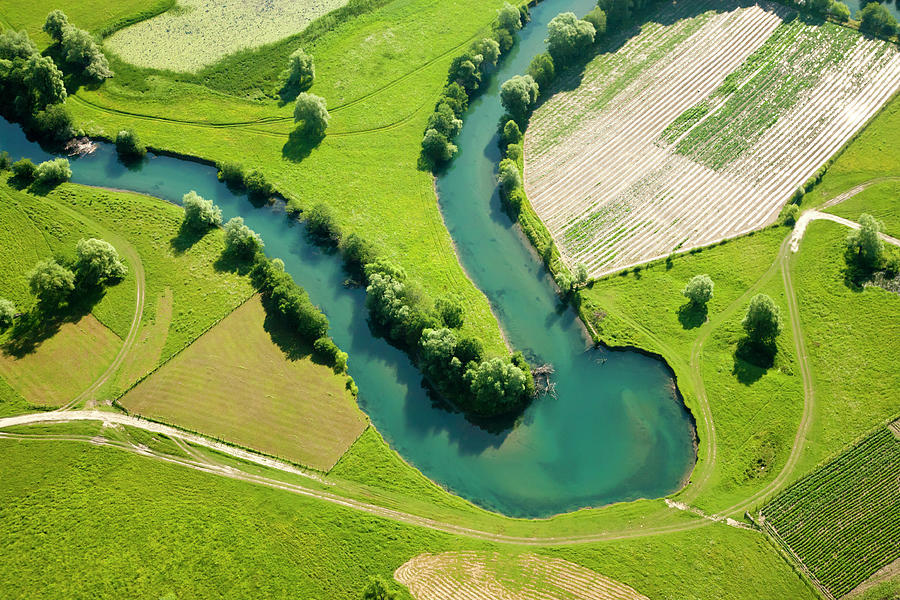 Farmland Patchwork, Aerial View Photograph by Vpopovic