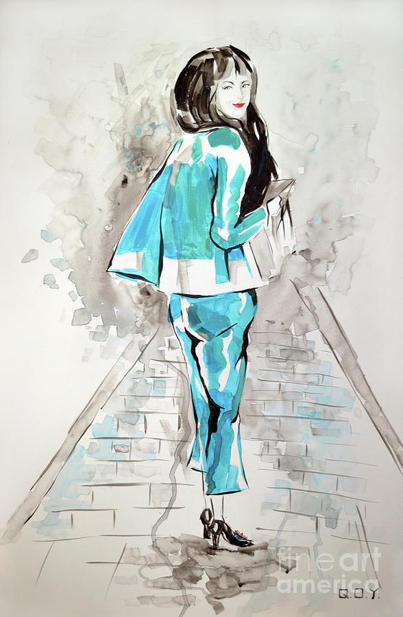 Fashion Girl Blue 2018 Painting by AQQ Studio
