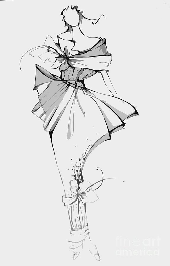 Dress Digital Art - Fashion Illustration by Alsu Gizzatullina