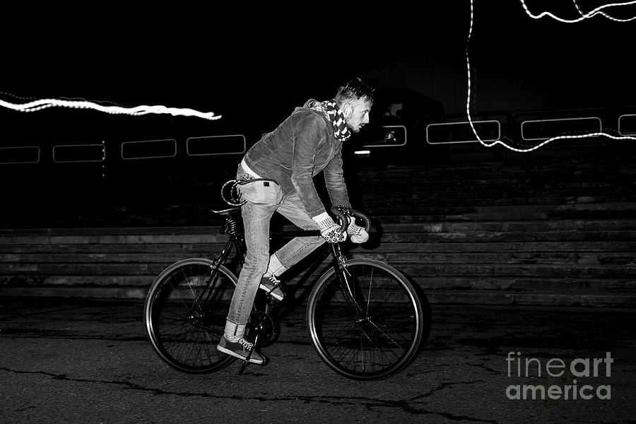 Handsome Photograph - Fashion Man On The Fixed Gear Bike by Hrynevich Yury