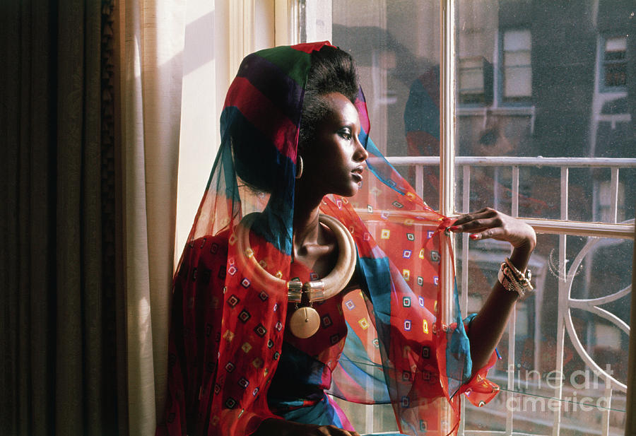 Fashion Model Iman By Window Photograph by Bettmann
