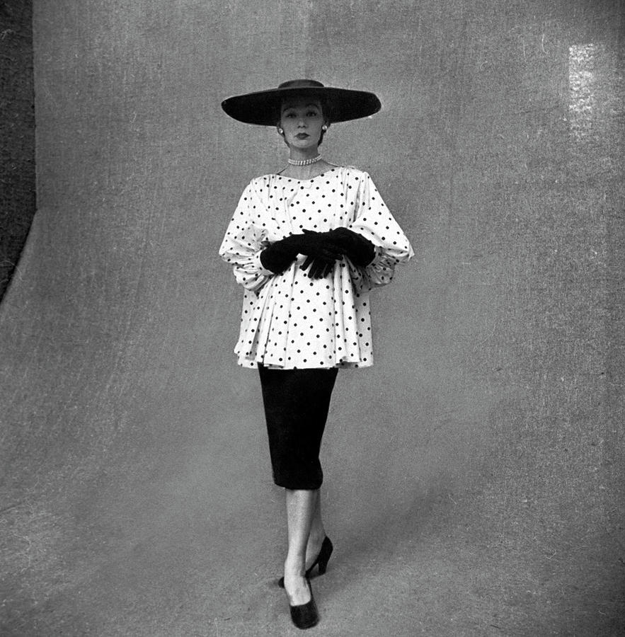 Fashion Model Showing Polka Dotted Photograph by Gordon Parks