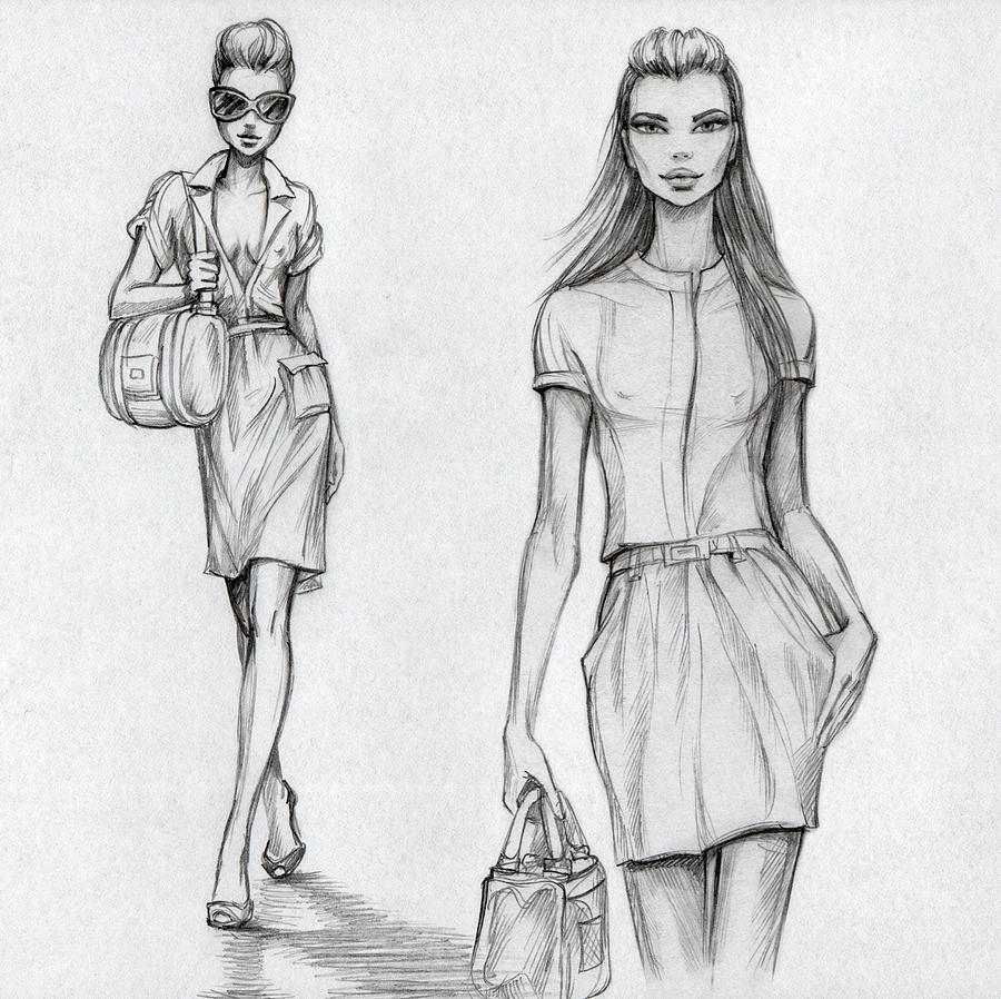 Fashion Models Black-and-white Digital Art by Tatarnikova