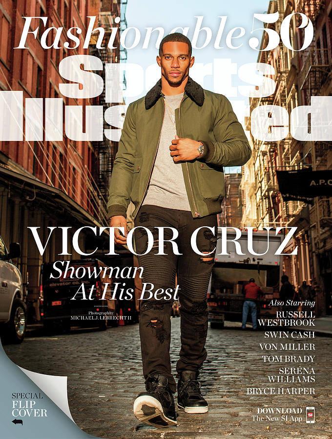 Fashionable 50 New York Giants Wide Receiver Victor Cruz Sports Illustrated Cover Photograph by Sports Illustrated