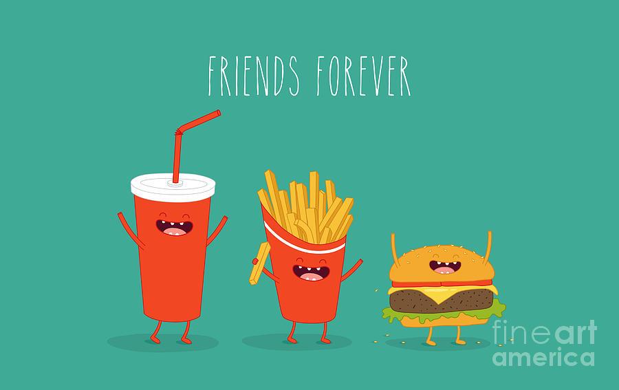 Template Digital Art - Fast Food Menu. Cola, Hamburger And by Serbinka