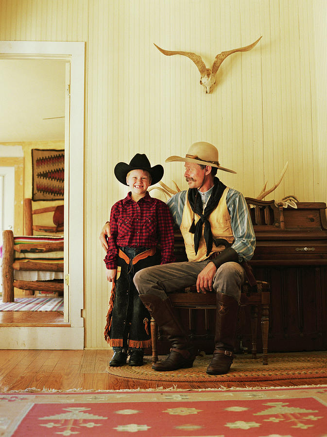 Father And Son 7-9 Wearing Cowboy Photograph by David Sacks