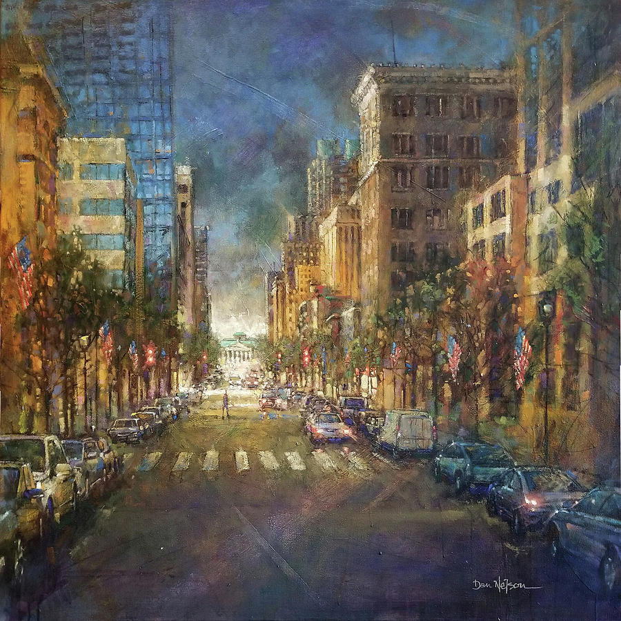 Fayetteville Street Morning Gold Painting
