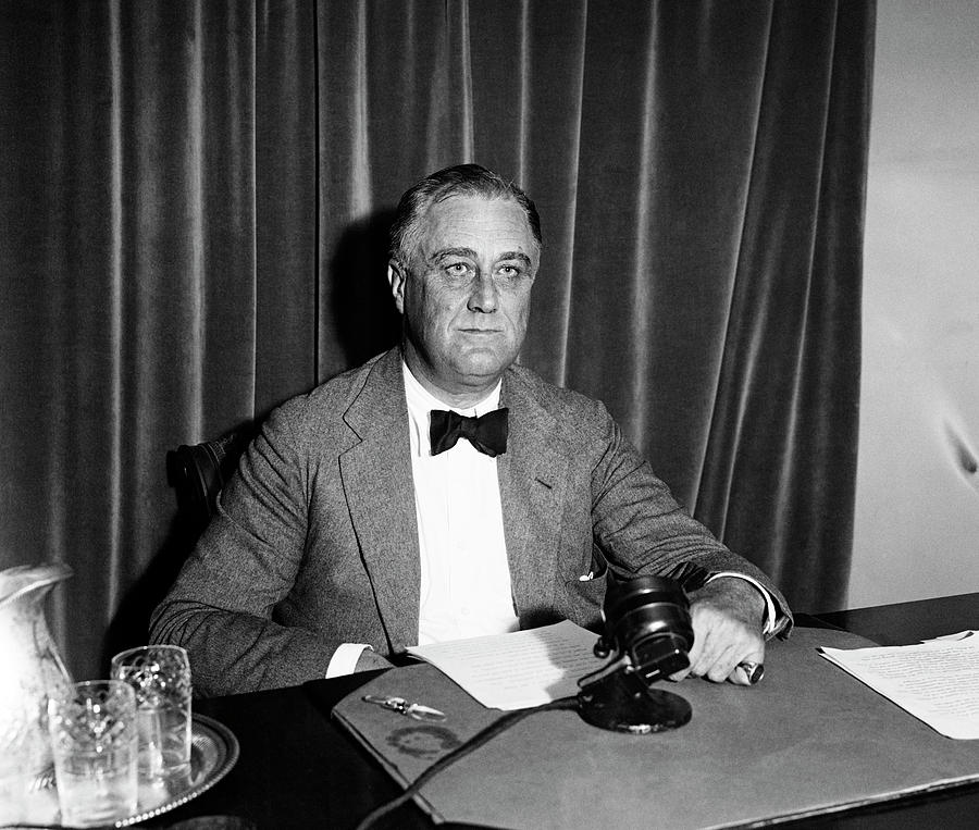 FDR Before A Radio Address - Great Depression - 1934 by War Is Hell Store