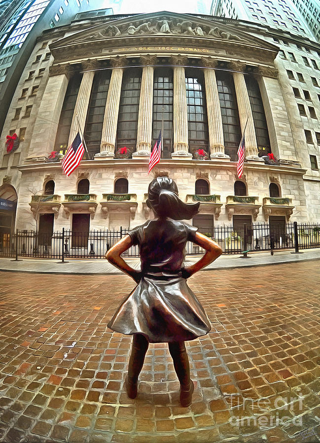 Fearless Girl Statue In Front Of New York Stock Exchange 1 Photograph