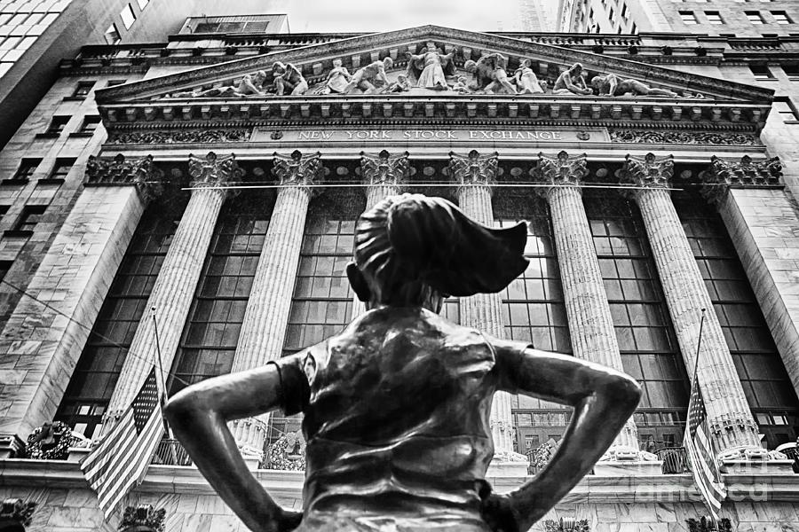 Fearless Girl Statue in front of New York Stock Exchange BW 11 by Nishanth Gopinathan