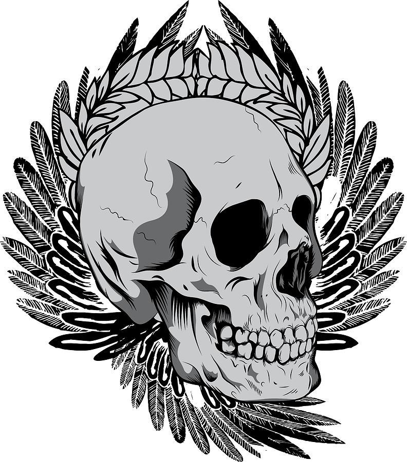 Halloween Digital Art - Feathered Skull by Passion Loft
