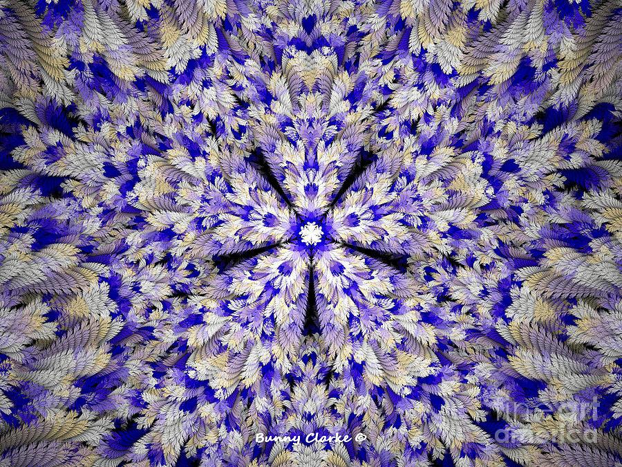 Fractal Digital Art - Feathery Floral Mandala by Bunny Clarke