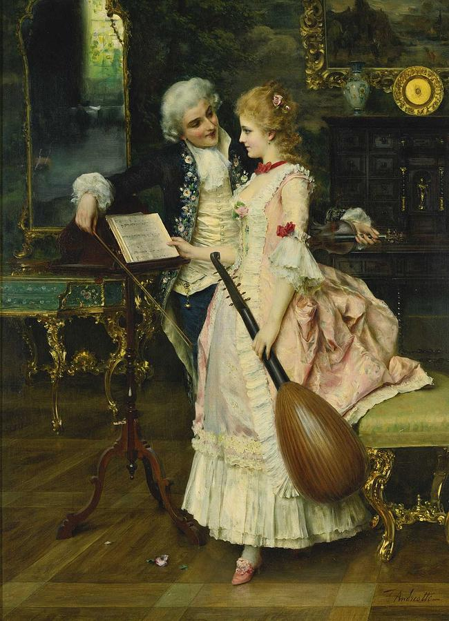 Interlude Painting - Federico Andreotti 1847-1930 An Interlude by Celestial Images
