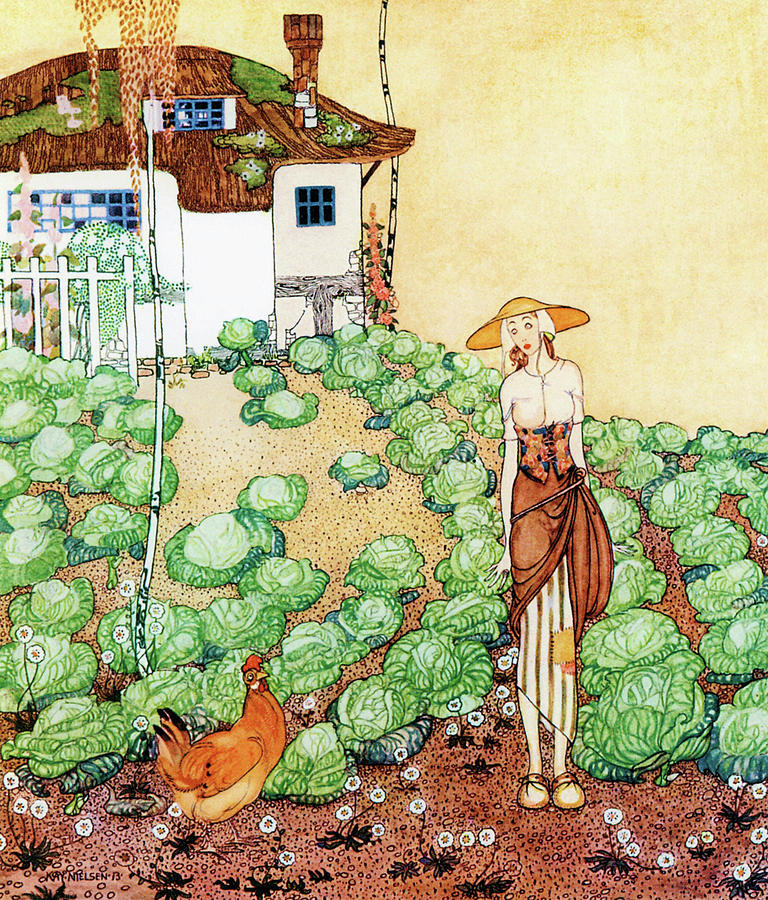 Cabbage Painting - Felicia, A Farmer Whose Chicken Is Told That Her Mother Is A Queen by Kay Nielsen
