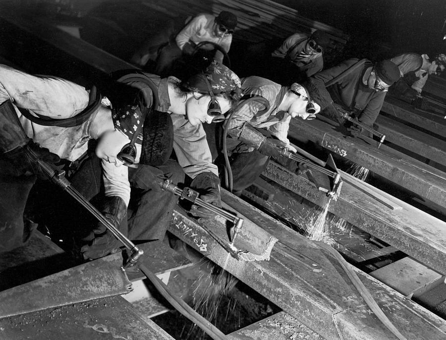 Female Burners Using Acetylene Torches T Photograph by Margaret Bourke-white