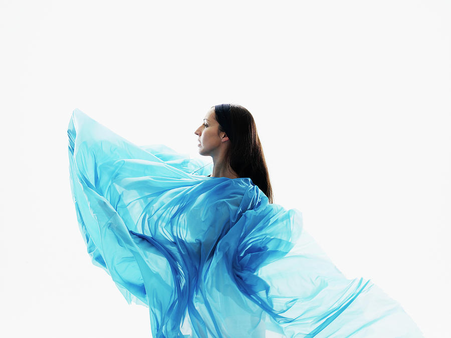 Female Dancer Wrapped In Blue Fabric On Photograph by Thomas Barwick