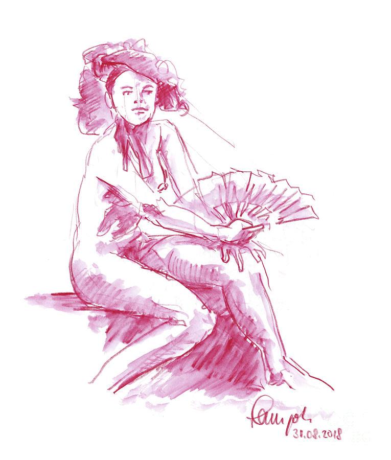 Female Nude Drawing - Female Figure Drawing Sitting Pose Fan Watercolor Pencil Magenta by Frank Ramspott