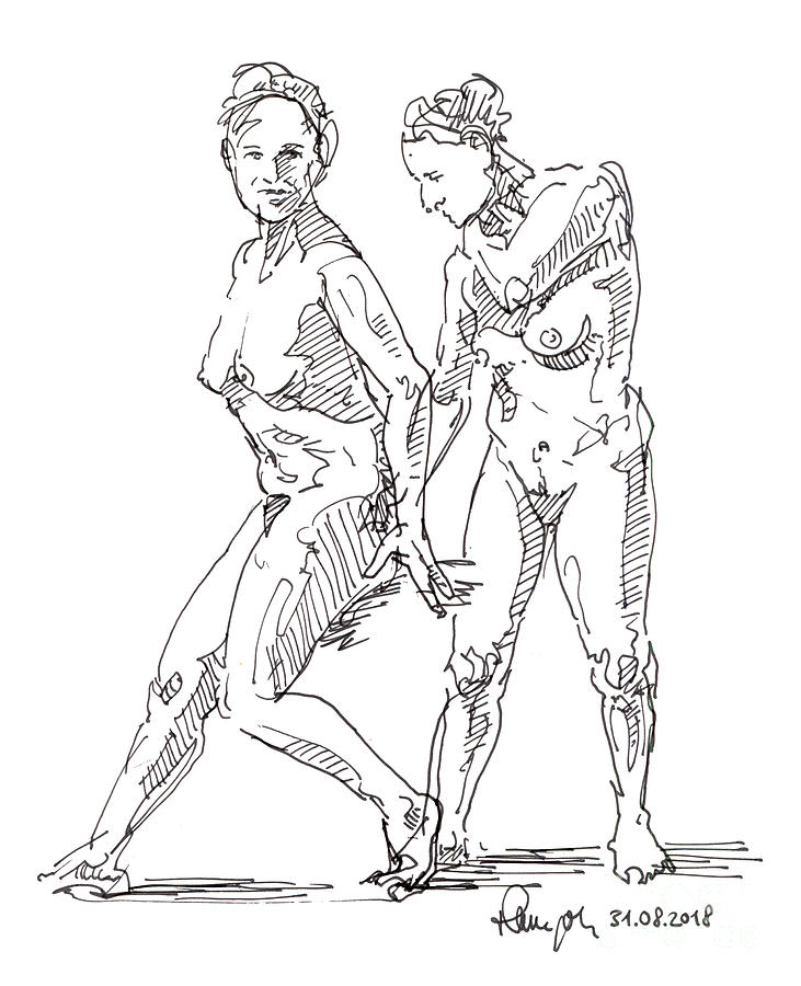 Female Figure Drawing Standing Poses Fountain Pen Ink by Frank Ramspott