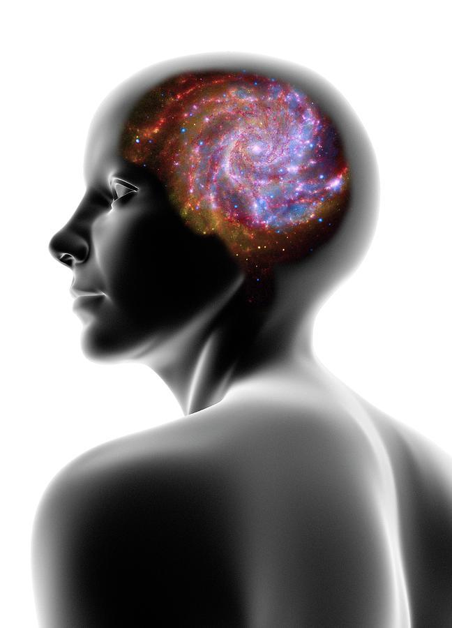 Female Head And Spiral Galaxy Digital Art by Pasieka