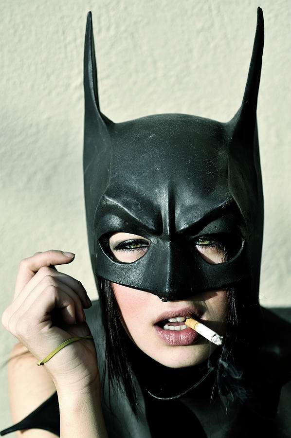Female Model Smoking With Batman Mask Photograph by Stephen Albanese