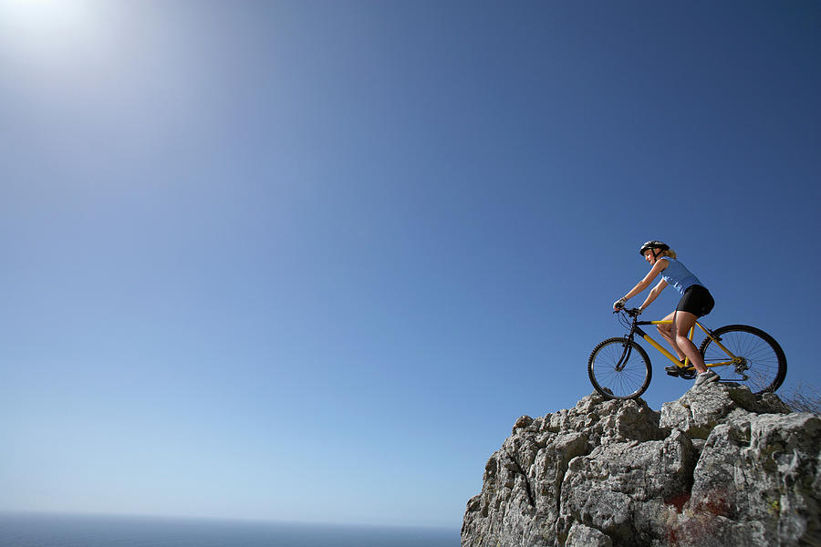 Female Mountain Biker Sitting On Photograph by Bounce