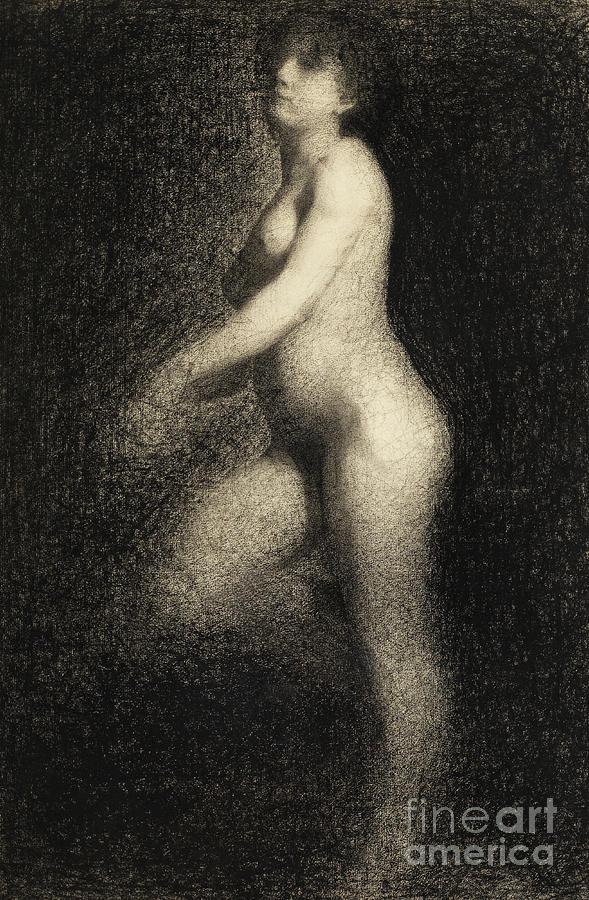 Seurat Drawing - Female Nude By Seurat by Georges Pierre Seurat