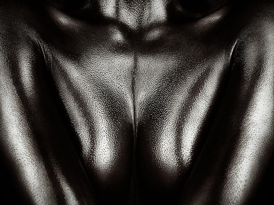 Woman Photograph - Female Nude Silver Oil Close-up 2 by Johan Swanepoel