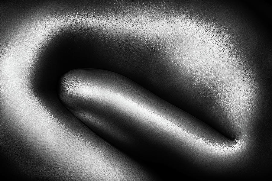 Woman Photograph - Female Nude Silver Oil Close-up 3 by Johan Swanepoel