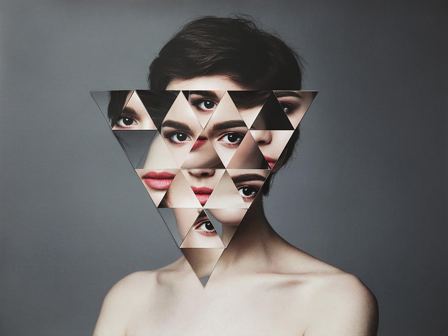 Female Portrait With Collaged Face Parts Photograph by Vasilina Popova