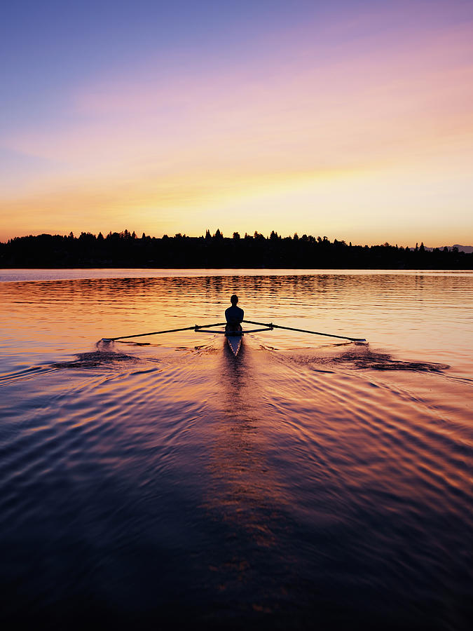 Female Rowing Single Scull, Sunrise Photograph by Thomas Barwick