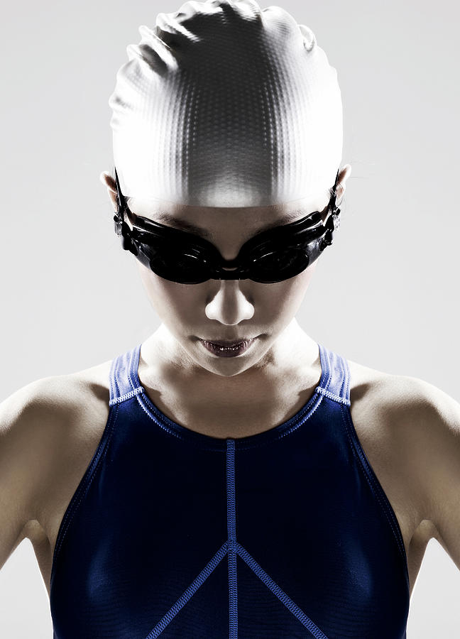 Female Swimmer Wearing Swim Cap And Photograph by Ting Hoo