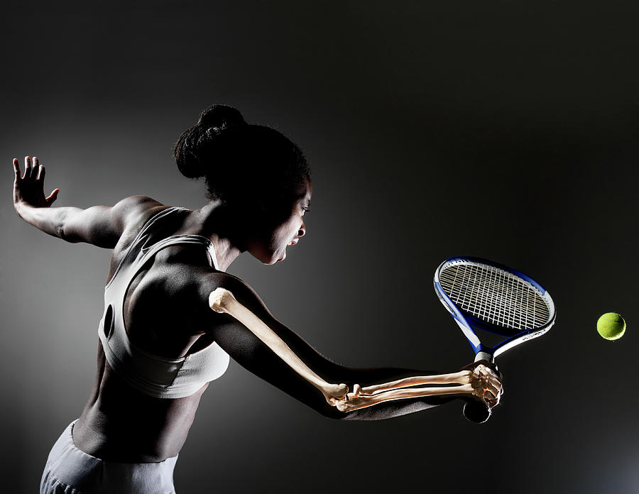 Female Tennis Player With Skeleton Photograph by Henrik Sorensen