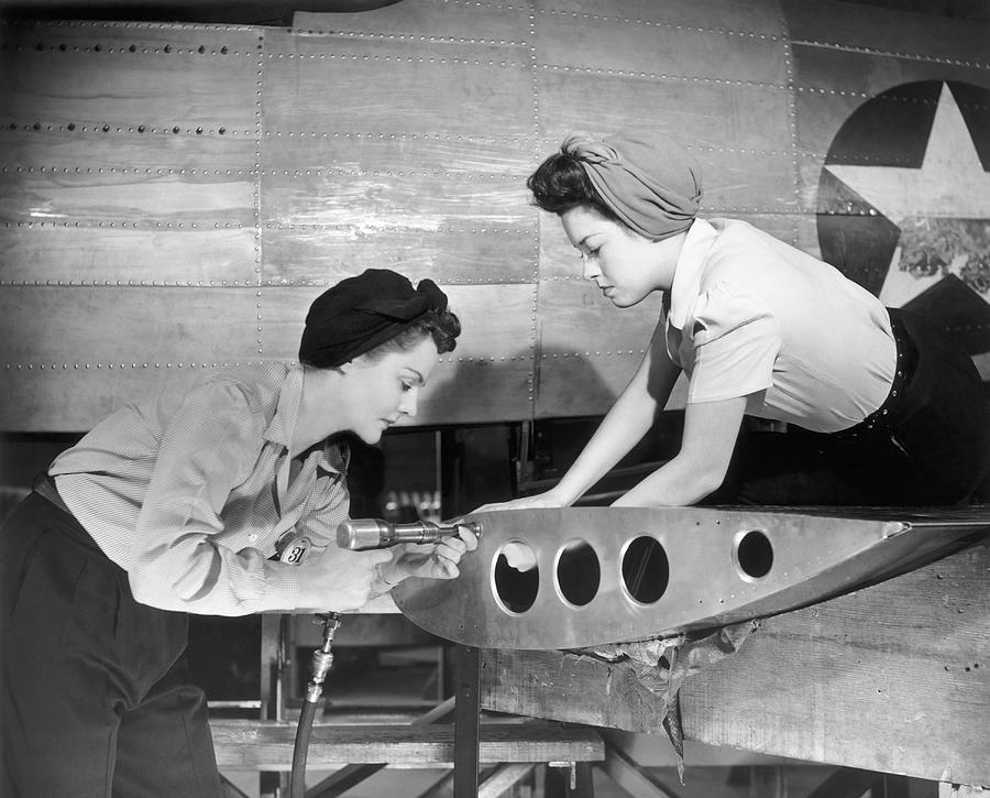 Female Workers Working On Plane Photograph by George Marks