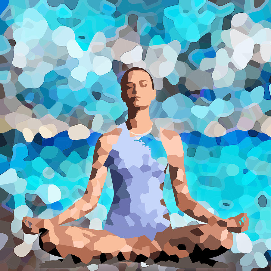Feminine energy a woman meditates in the lotus position abstract painting
